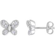 Cutie Pie 1/4 Carat T.G.W. Created White Sapphire Sterling Silver Girls' Butterfly Stud Earrings