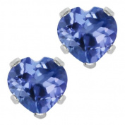 1.10 Ct Heart Shape Natural Tanzanite 10K White Gold Stud Earrings 5MM