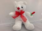 Plush White Valentine Bear with Rose