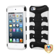 INSTEN Rubberized Black/Solid White Ribcage Case for APPLE