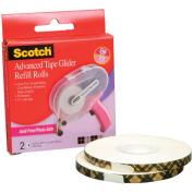 3M Scotch Advanced Tape Glider Acid Refill Rolls, 2pk, .60cm x 36 yd Each