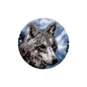 Spinrite Wonderart Latch Hook Kit, 46cm , Round-Snow Wolf