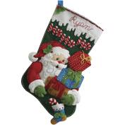 Bucilla Felt Applique Stocking, Ho Ho Ho Santa