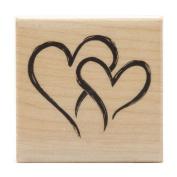 Inkadinkado Seasonal Mounted Rubber Stamp 5.1cm x 5.1cm -2 Hearts In 1