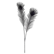 90cm Regal Peacock Black Glitter Tail Feather Floral Craft Spray