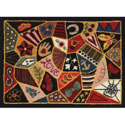 Heritage Rug Hooking Screen, 50cm x 70cm , Victorian Patches