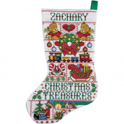 Tobin Stocking Counted Cross-Stitch Kit, 14-Count, Christmas Treasures