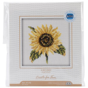 RTO Sunflower Counted Cross-Stitch Kit, 10cm x 10cm , 14 Count