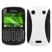 INSTEN Rubberized White/Black Mixy Case Cover For BLACKBERRY 9930 Bold 9900 Bold