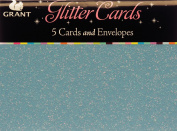 Glitter Cards & Envelopes 15cm x 10cm 5/Pkg-Blue