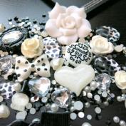 BSI - 3D DIY Bling Bling Cell Phone Case Resin Flatback Kawaii Cabochons Decoration Kit / Set ~ Black & White