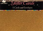 Glitter Cards & Envelopes 15cm x 10cm 5/Pkg-Gold