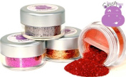 Sassy Hippo Craft Glitter - 4Pk, Gift Set #1 - Satin Fuchsia, Platinum Grey, Copper Tinsel, Candy Apple Red