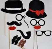 13 PIECES Moustache Party Moustache on a Stick Photo Booth Party Props