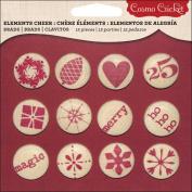 Cosmo Cricket COS68117 Cheer Canvas Brads, Multicoloured, 12 Brads Per Pack