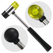300ml 2-in-1 Rubber & Nylon Mallet - Steel Handle Non-Slip Grip - Jewellery, Leather-Craft, Woodworking - Interchangeable Heads
