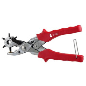 Super-Power Revolving Leather Hole Punch Tool - 6 Sizes 2.0 to 4.5mm - Taiwan - Compound Handle Leverages Effort