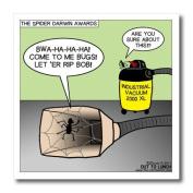 Rich Diesslins Funny General Cartoons - Spider Darwin Awards Vacuum Cleaner Bug Trap - Iron on Heat Transfers