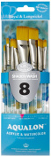 Aqualon Royal and Langnickel Short Handle Paint Brush Set, Flat and Shader, 8-Piece