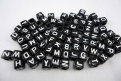Alphabet Beads Cube Letter 6x6mm 100/pkg Black Colour ~Jewellery Making~
