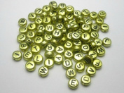 Alphabet Beads Round Letter 4X7mm 100/pkg Gold Colour ~Jewellery Making~
