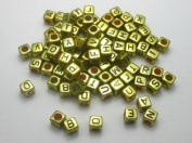Alphabet Beads Cube Letter 6x6mm 100/pkg Gold Colour ~Jewellery Making~