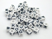 Alphabet Beads Cube Letter 6x6mm 100/pkg White Colour ~Jewellery Making~