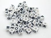 Alphabet Beads Cube Letter 6x6mm 100/pkg White Colour ~Jewellery Making~