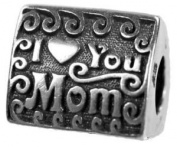 I Love You Mom Triangle Spacer Charm Bead Compatible with Pandora, Chamilia, Biagi, Troll and Other Italian Jewellery Bead