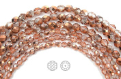Choose a Size, Crystal Capri Gold Half coated, Czech Fire Polished Round Faceted Glass Beads, 41cm