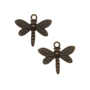 Vintaj Natural Brass Princess Dragonfly Charm Beads 12mm