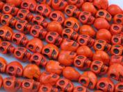 """10x12mm Orange Colour Howlite Carved Skull Beads 16"""" Strand"""