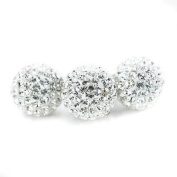 DUMAN 5pcs Clear White 10mm. Crystal Loose Spacer Beads Pave Disco Ball Shamballa Bead