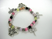 LeRoux 5040 Dragonfly Butterfly Pink Bead Bracelet