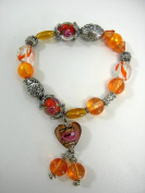 LeRoux 7814 Orange & Silver Tone Bead Stretch Bracelet