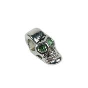 Platinum Metal Coloured European Style Skull Beads with Rhinestone Gems - Various Eye Colours