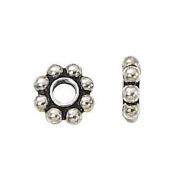 DUMAN 50pcs Tibetan Silver Daisy Metal Spacer Beads 6mm Jewellery Making