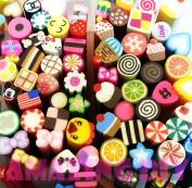 6 pcs Cane Clay Polymer miniature cupcake hearts scrapbooks assorted nail art