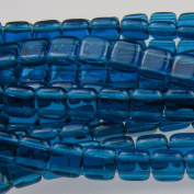 Czechmate 6mm Square Glass Czech Two Hole Tile Bead - Capri Blue