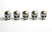 5 Metal Chrome Skull Beads For 550 Paracord Bracelets, Lanyards, & Other Projects