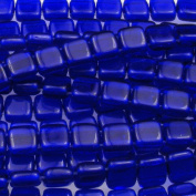 Czechmate 6mm Square Glass Czech Two Hole Tile Bead - Cobalt