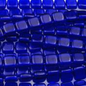 Czechmate 6mm Square Glass Czech Two Hole Tile Bead - Cobalt