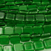 Czechmate 6mm Square Glass Czech Two Hole Tile Bead - Green Emerald