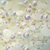 200 pcs 3mm - 6mm Cream Acrylic faux round Shiny Pearls Flatback Mix SIZE ~ M1-17