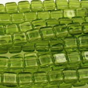 Czechmate 6mm Square Glass Czech Two Hole Tile Bead - Olivine