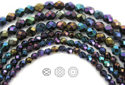 Choose a Size, Jet Blue Iris, Czech Fire Polished Round Faceted Glass Beads, 41cm strand