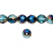 8mm Teal w/ Blue Iris Preciosa Czech Fire-Polished Glass Faceted Round Beads - Pack of 50