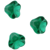 Czech Glass Beads 6mm X 8mm Flower Bell Beadcaps Emerald Green