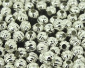Silver Plated Fluted Corrugated Round Metal Beads 5mm