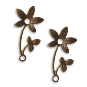Vintaj Natural Brass Fastenables Violet Sprig Flower Charms 30mm